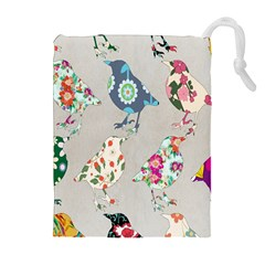 Birds Floral Pattern Wallpaper Drawstring Pouches (extra Large)