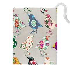 Birds Floral Pattern Wallpaper Drawstring Pouches (xxl)