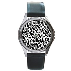 Black And White Leopard Skin Round Metal Watch