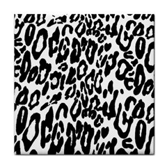 Black And White Leopard Skin Tile Coasters