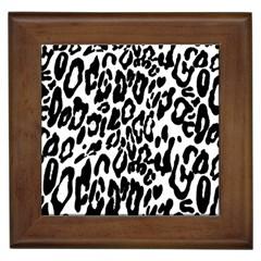 Black And White Leopard Skin Framed Tiles