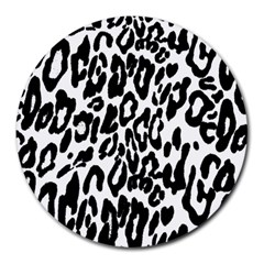 Black And White Leopard Skin Round Mousepads