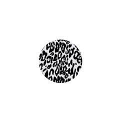 Black And White Leopard Skin 1  Mini Buttons