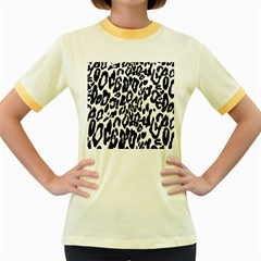 Black And White Leopard Skin Women s Fitted Ringer T Shirts