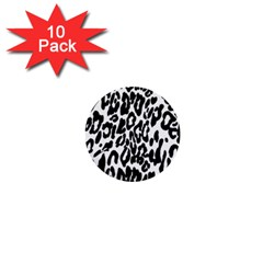 Black And White Leopard Skin 1  Mini Buttons (10 Pack)