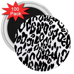 Black And White Leopard Skin 3  Magnets (100 Pack)