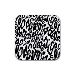 Black And White Leopard Skin Rubber Square Coaster (4 Pack)