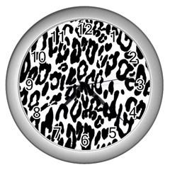 Black And White Leopard Skin Wall Clocks (silver)