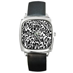 Black And White Leopard Skin Square Metal Watch