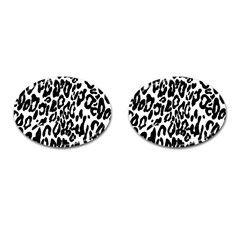 Black And White Leopard Skin Cufflinks (oval)