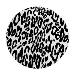Black And White Leopard Skin Round Ornament (two Sides)