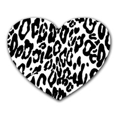 Black And White Leopard Skin Heart Mousepads