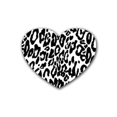 Black And White Leopard Skin Heart Coaster (4 Pack)
