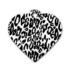 Black And White Leopard Skin Dog Tag Heart (two Sides)