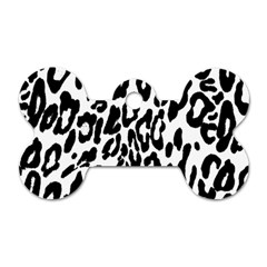 Black And White Leopard Skin Dog Tag Bone (two Sides)