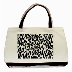 Black And White Leopard Skin Basic Tote Bag (two Sides)
