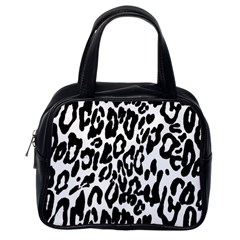 Black And White Leopard Skin Classic Handbags (one Side)