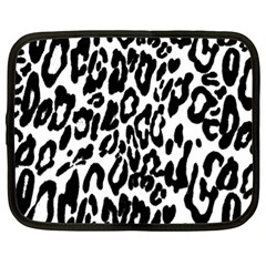 Black And White Leopard Skin Netbook Case (xl)