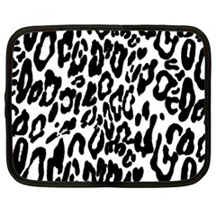 Black And White Leopard Skin Netbook Case (xxl)