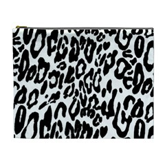 Black And White Leopard Skin Cosmetic Bag (xl)