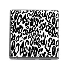 Black And White Leopard Skin Memory Card Reader (square)