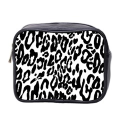 Black And White Leopard Skin Mini Toiletries Bag 2 Side