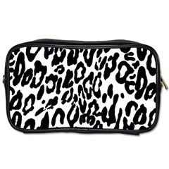 Black And White Leopard Skin Toiletries Bags 2 Side