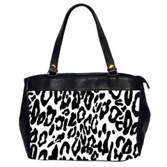 Black And White Leopard Skin Office Handbags (2 Sides)