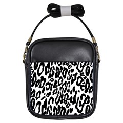 Black And White Leopard Skin Girls Sling Bags