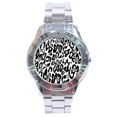 Black And White Leopard Skin Stainless Steel Analogue Watch
