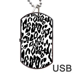 Black And White Leopard Skin Dog Tag Usb Flash (two Sides)