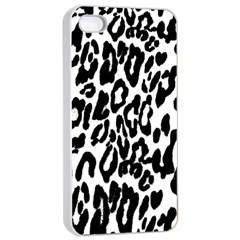 Black And White Leopard Skin Apple Iphone 4/4s Seamless Case (white)