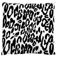 Black And White Leopard Skin Large Cushion Case (One Side)
