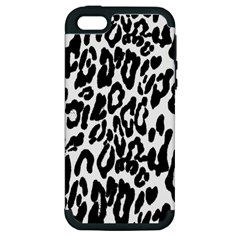 Black And White Leopard Skin Apple Iphone 5 Hardshell Case (pc+silicone)