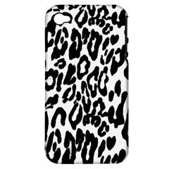Black And White Leopard Skin Apple Iphone 4/4s Hardshell Case (pc+silicone)
