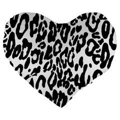 Black And White Leopard Skin Large 19  Premium Heart Shape Cushions