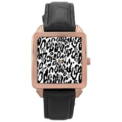 Black And White Leopard Skin Rose Gold Leather Watch