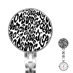 Black And White Leopard Skin Stainless Steel Nurses Watch