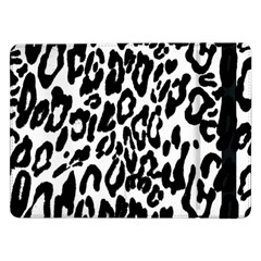 Black And White Leopard Skin Samsung Galaxy Tab Pro 12 2  Flip Case
