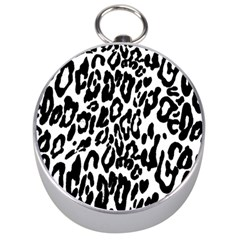 Black And White Leopard Skin Silver Compasses