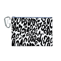 Black And White Leopard Skin Canvas Cosmetic Bag (m)