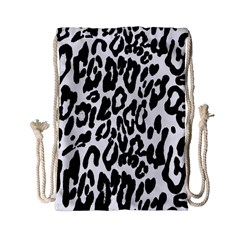 Black And White Leopard Skin Drawstring Bag (small)