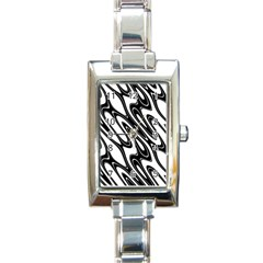 Black And White Wave Abstract Rectangle Italian Charm Watch