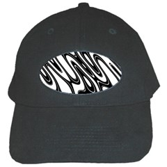 Black And White Wave Abstract Black Cap