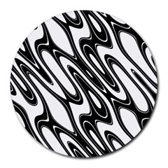 Black And White Wave Abstract Round Mousepads