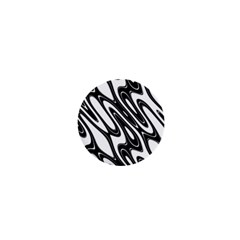 Black And White Wave Abstract 1  Mini Buttons