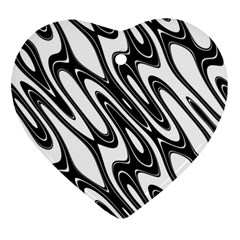 Black And White Wave Abstract Ornament (heart)