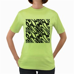 Black And White Wave Abstract Women s Green T Shirt