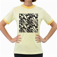 Black And White Wave Abstract Women s Fitted Ringer T-Shirts
