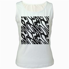 Black And White Wave Abstract Women s White Tank Top